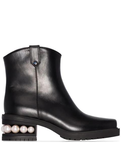 Nicholas Kirkwood Casati Leather Western Faux Pearl Ankle Boots In Black
