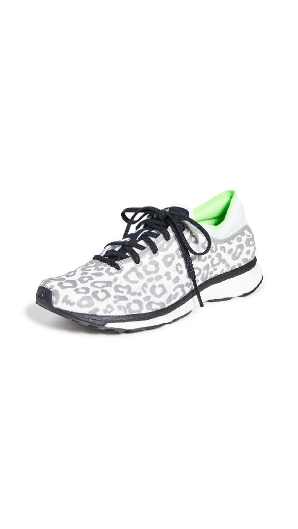Adidas By Stella Mccartney Adizero Adios Leopard-Print Mesh Trainers In Core Black/Solar Green/Cream