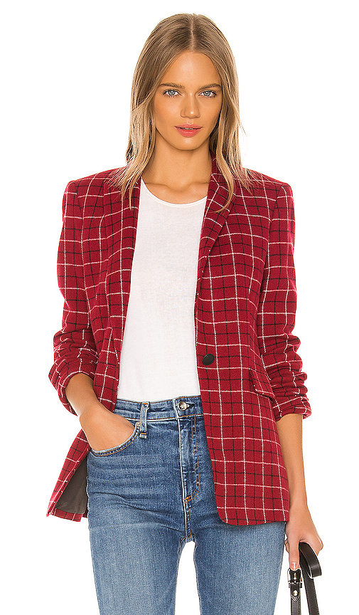 Rag & Bone Hazel Check Wool Blend Blazer In Red