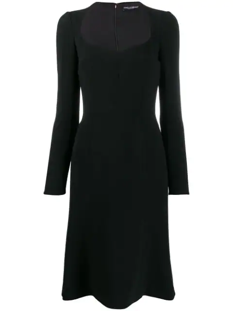 Dolce & Gabbana Sweetheart Neck Long Sleeve Cady Crepe Dress In Black