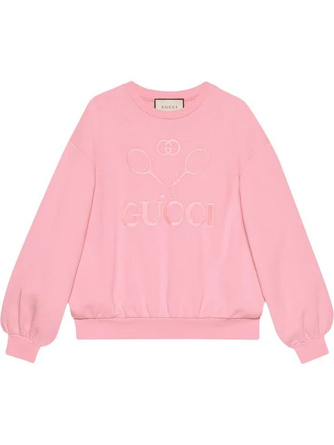 Gucci Tennis Embroidered Jersey Sweatshirt In 5961 Pink