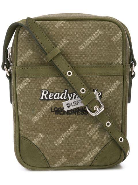 Readymade Logo Print Messenger Bag In Green