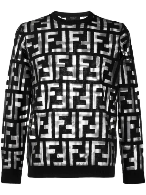 Fendi Ff Devoré Jumper In Black