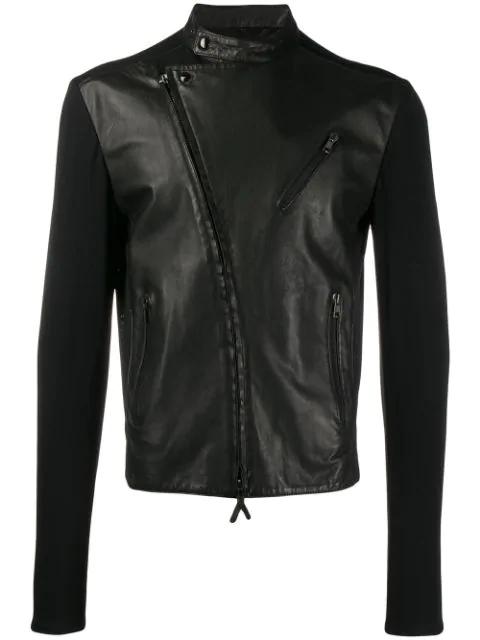 Pre-owned Giorgio Armani 1990's Contrast Panels Biker Jacket In Black