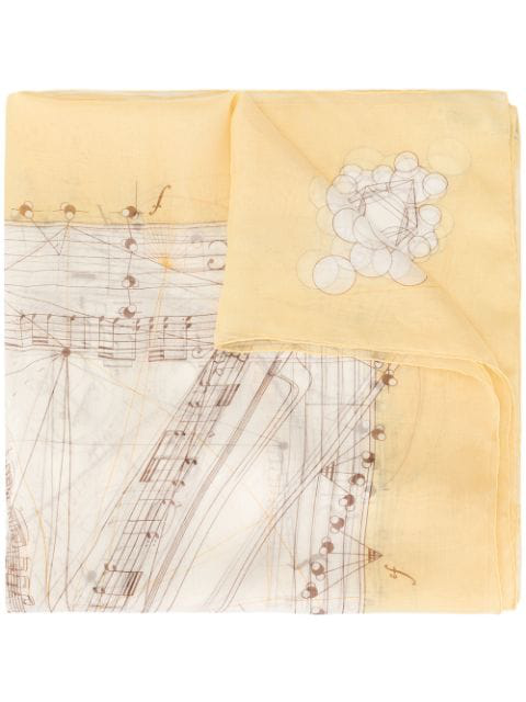 Hermes Pre-owned Musical Note Scarf In Yellow