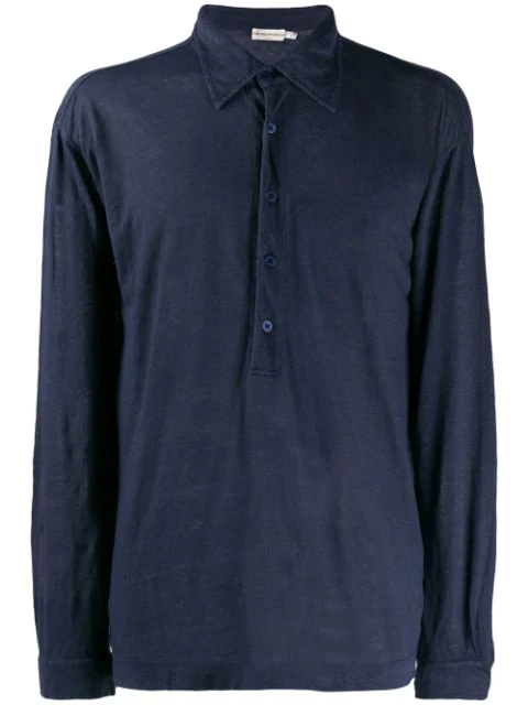 Pre-owned Giorgio Armani 1990's Longsleeved Polo Shirt In Blue