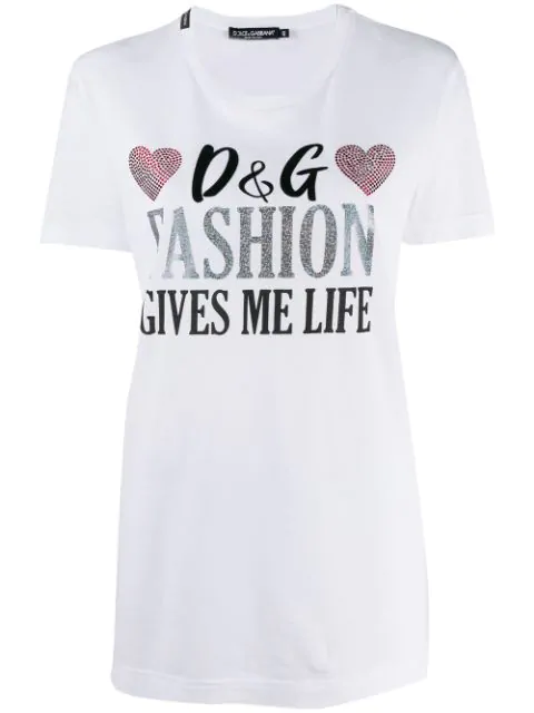 Dolce & Gabbana Rhinestone Embellished T In W0800 Bianco Ottico