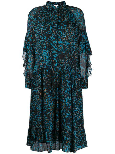 Lala Berlin Animal Print Shirt Dress In Blue