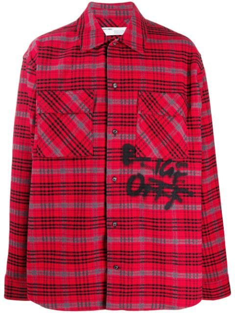 Off-White Checked Oversized Cotton-Flannel Overshirt In 2010 Red Black