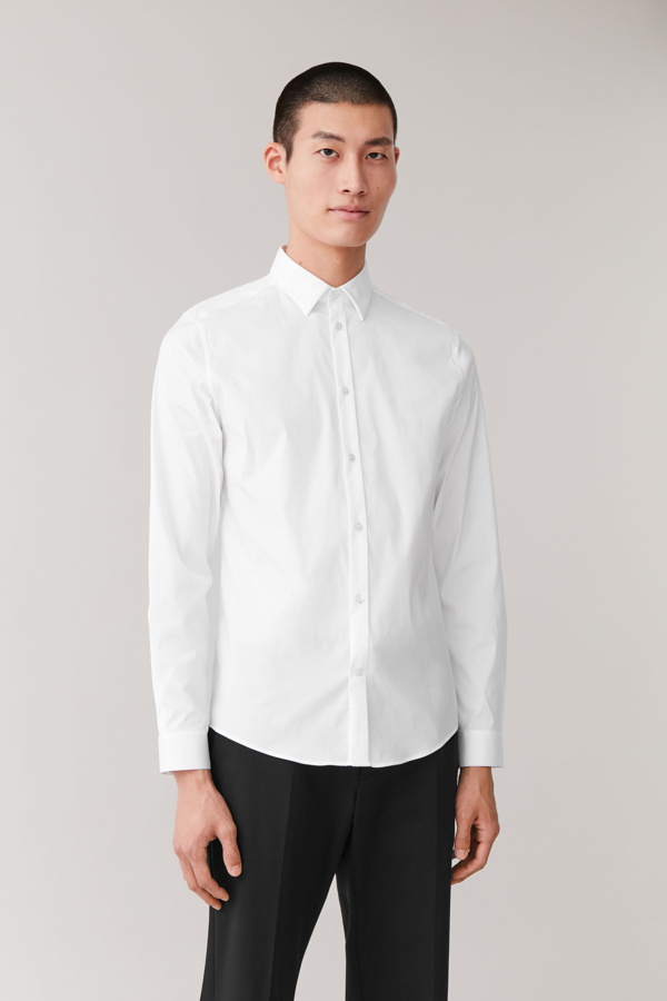 Cos Organic Cotton Classic Slim Fit Shirt In White