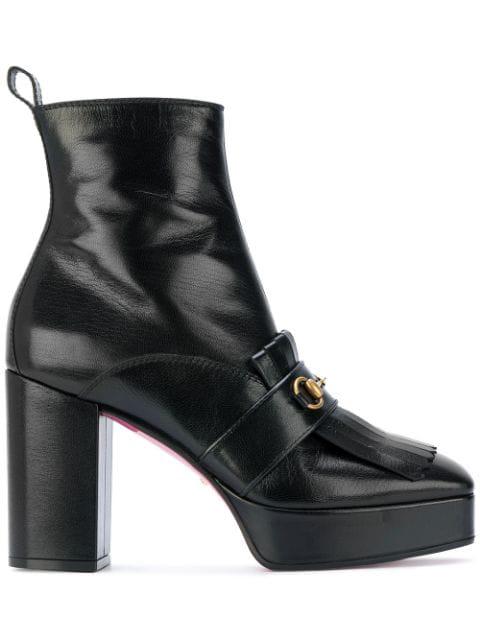 Gucci Black Nove 105 Leather Platform Boots