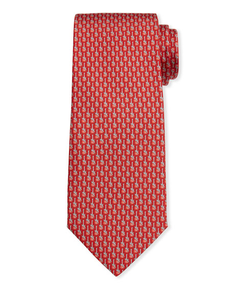 Salvatore Ferragamo Men's Ibanez Guitars Silk Tie 6 In F.rosso