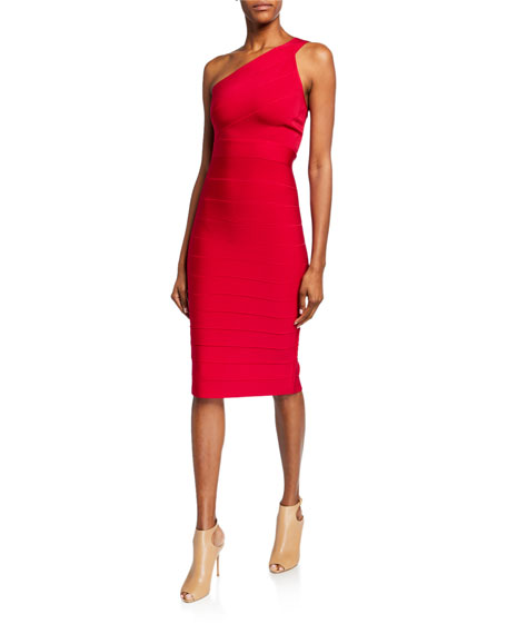 Herve Leger Icon Asymmetric One-shoulder Dress In Red
