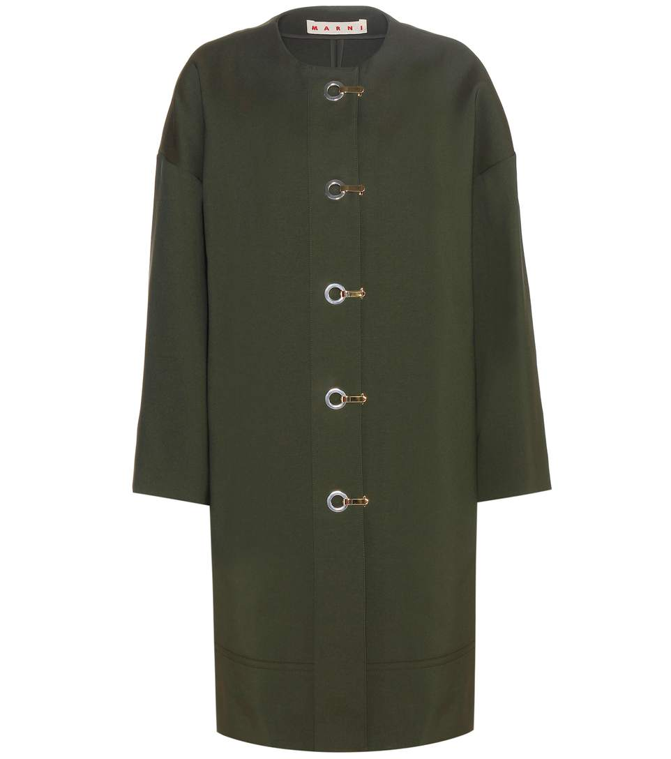 Marni Silk-Blend Coat In Dark Olive