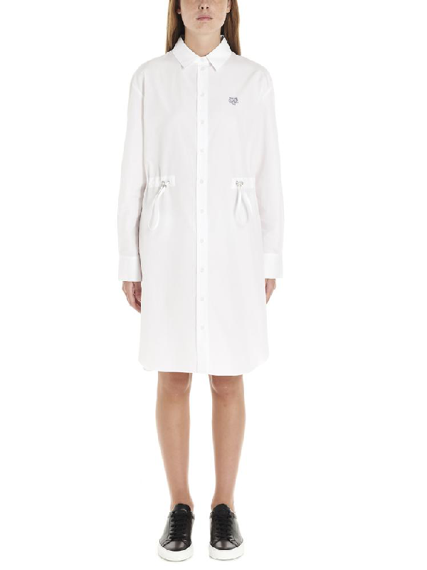 Kenzo Tiger Embroidered Shirt Dress In White