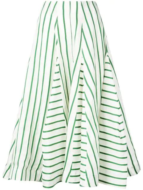 Rosie Assoulin Pleated Striped Wool-blend Skirt In Green