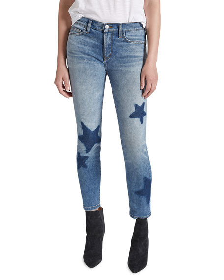 Current Elliott Star-Embroidered Ankle Skinny Stiletto Jeans In Kathan