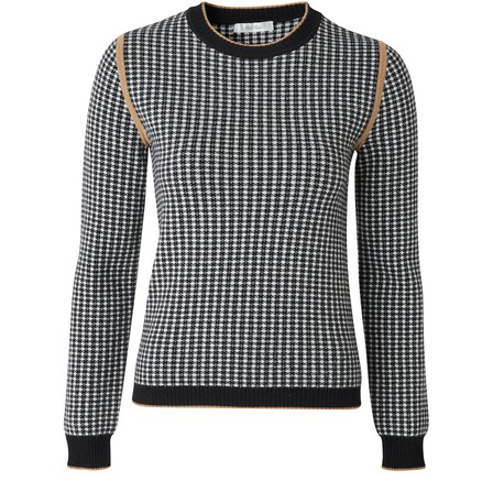 Max Mara Colle Houndstooth Jacquard Wool & Cashmere Pullover In White