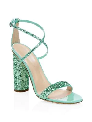 Giuseppe Zanotti Women's Svamp Glitter Crisscross High-Heel Sandals In Green