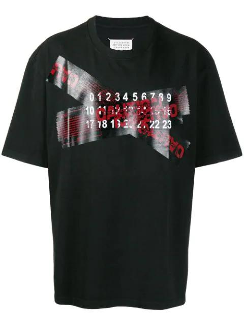 Maison Margiela Oversized Caution Print Cotton T Shirt In Black