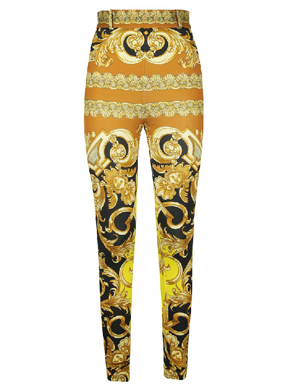 Versace Baroque Print Trousers In Caramel/yellow
