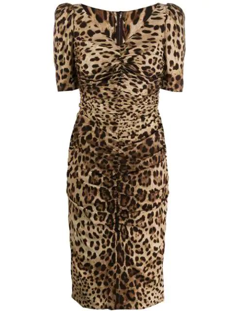 Dolce & Gabbana Leopard-print Ruched Silk-blend Midi Dress In Brown