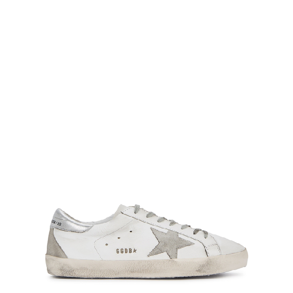 Golden Goose Superstar Distressed Leather And Suede Sneakers In White