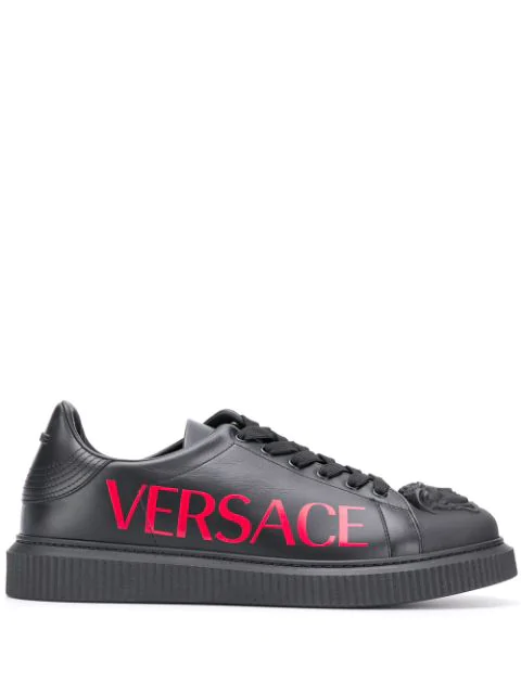 Versace Men's Shoes Leather Trainers Sneakers Medusa In Knr Nero + Poster Red