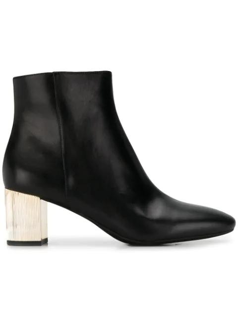 Michael Kors Metallic Heel Ankle Boots In Black