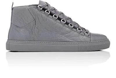 fdcca58f1c53 Balenciaga Arena Creased-Leather High-Top Sneakers In Gray