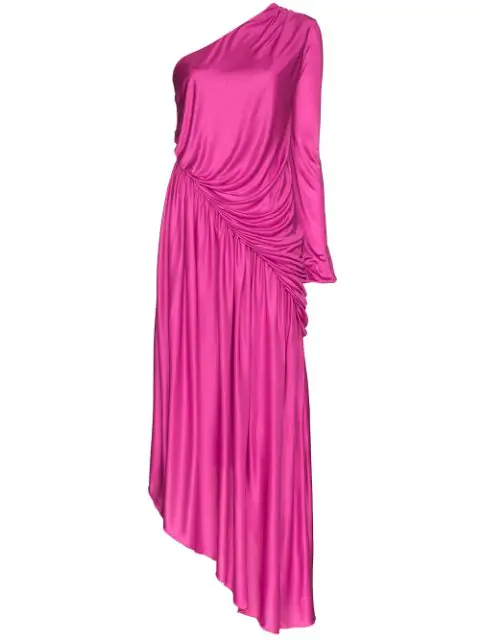 Halpern One-Shoulder Asymmetric Dress In Pink