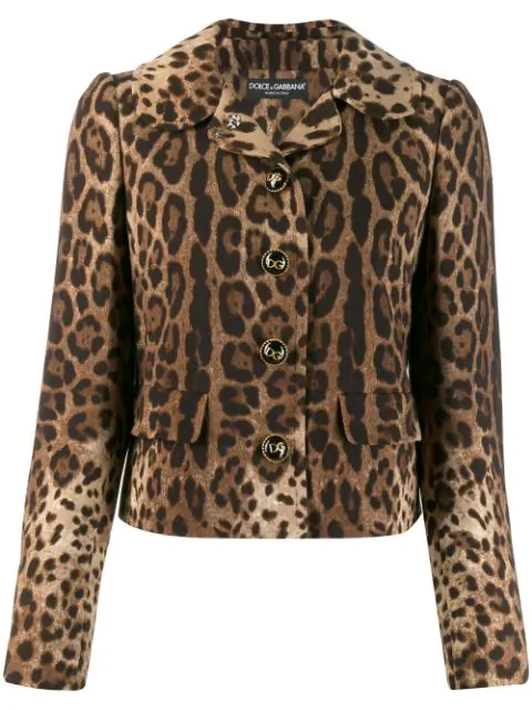 Dolce & Gabbana Wool Double Crepe Printed Short Jacket In Brown