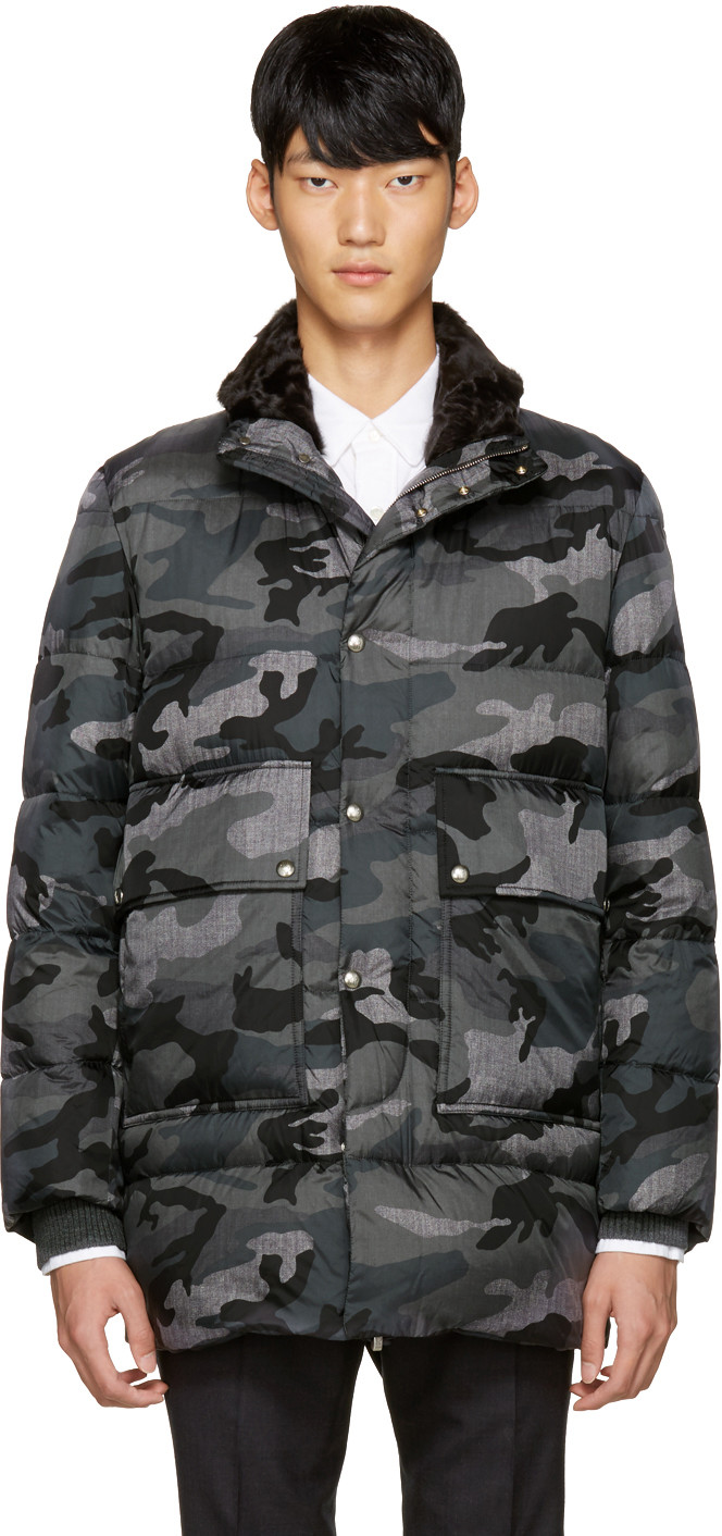 3f8d6bb26 Grey Quilted Down Camo Jacket