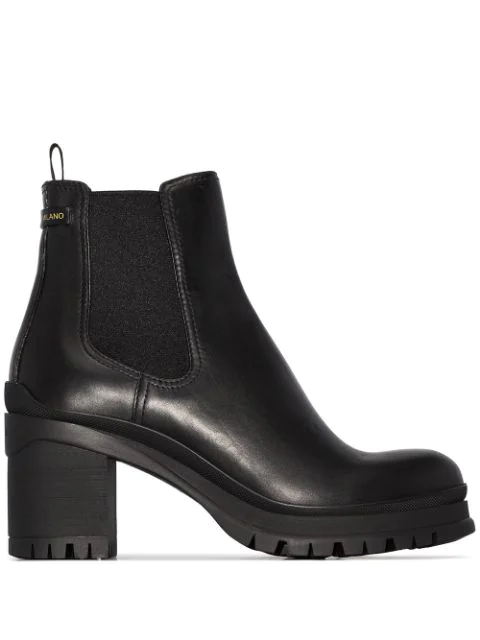 Prada 55 Leather Chelsea Boots In Black