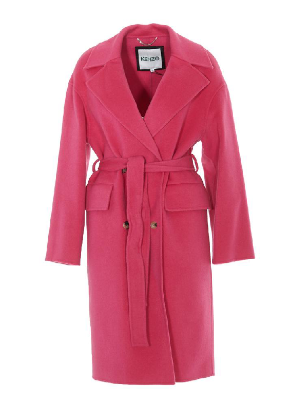 Kenzo Double Breasted Belted Coat In Pink