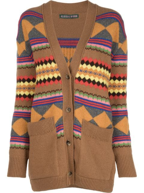 Alexa Chung Jacquard Knit Cardigan In 1057 Camel Multi Colour