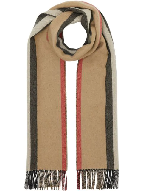 Burberry Reversible Icon Stripe Cashmere Scarf In Archive Beige