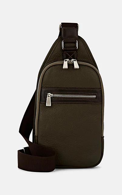 Barneys New York Leather Belt Bag - Olive
