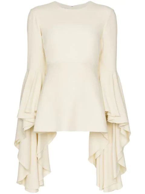 Giambattista Valli Ruffle Sleeve Blouse In 1103 White