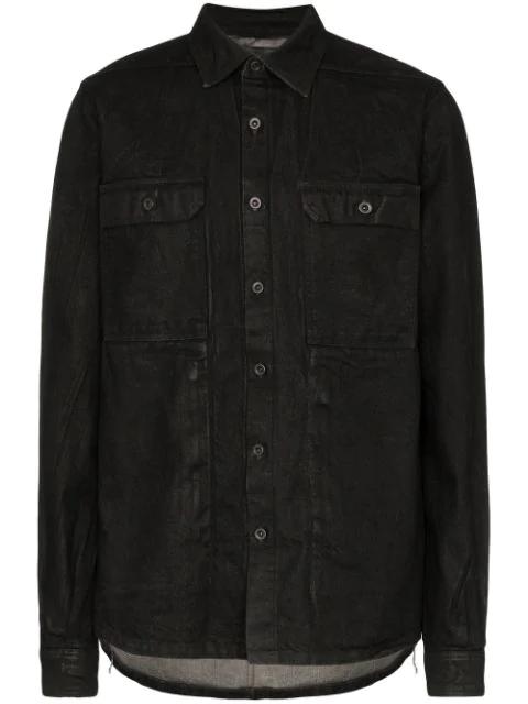 Rick Owens Drkshdw Waxed Cotton Shirt Jacket In 99 Black Wax