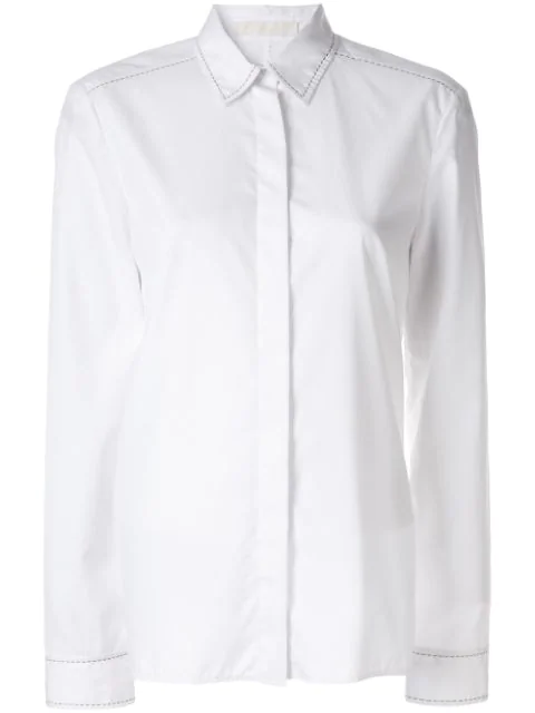 Dion Lee Pin Stitch Detail Shirt In White