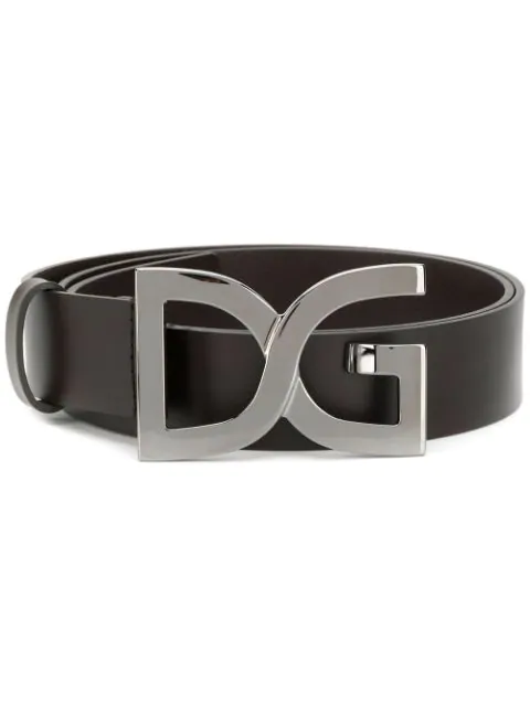 Dolce & Gabbana Logo Buckle Belt In Brown