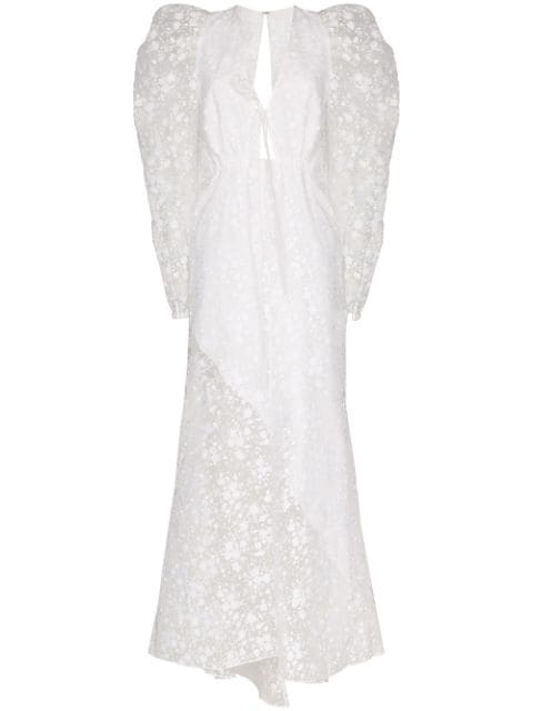 Rosie Assoulin Victorian Embroidered Long Dress In White