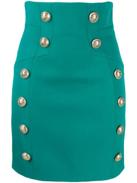 Balmain Buttoned Detailed Mini Skirt In 7Ka Vert