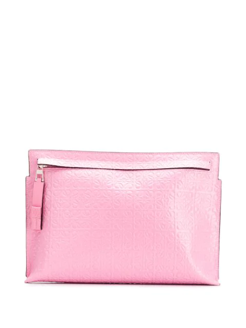 Loewe T-Pouch Repeat Embossed Leather Clutch In 3900 Candy