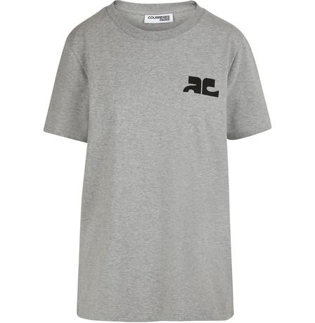 CourrÈGes Logo T-Shirt In Ash Grey