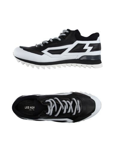 Les Hommes Stitched Panel Sneakers In Black