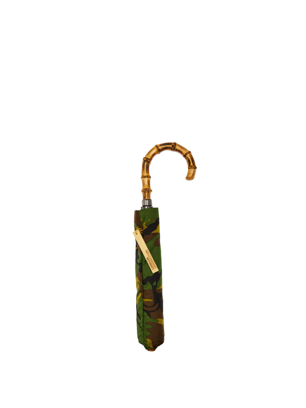London Undercover Camouflage-print Wood-handle Telescopic Umbrella In Multi