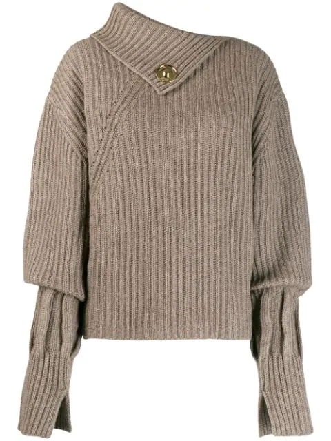 Jw Anderson Asymmetric Ribbed Jumper In Brown