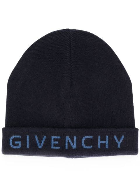 Givenchy Embroidered Logo Knitted Hat In Blue